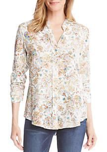 Shirred Sleeve Paisley Print Shirt