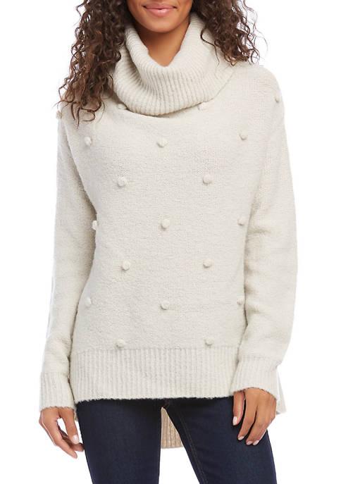 Karen Kane Womens Crotchet Pom Sweater