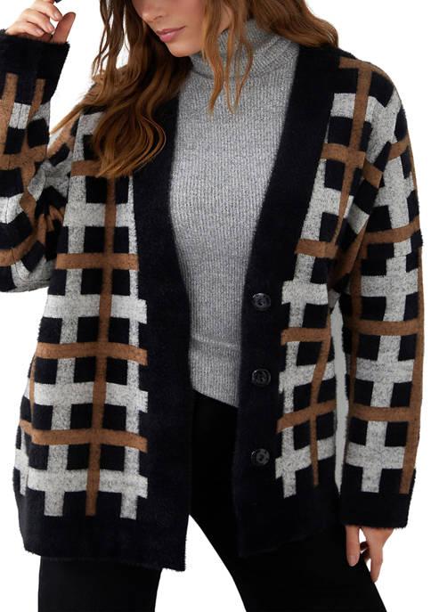 Karen Kane Womens Plaid Long Sleeve Button Cardigan
