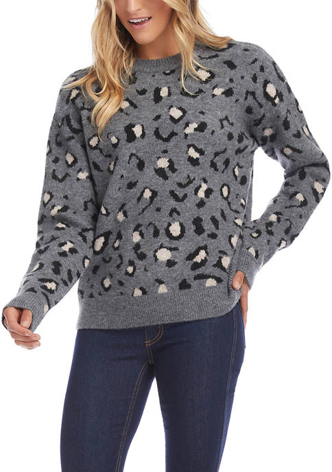 Womens Animal Jacquard Pullover Sweater
