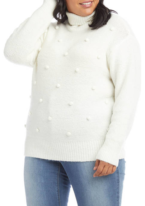 Karen Kane Plus Size Pom Mock Neck Sweater