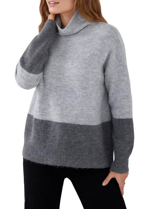 Womens Colorblock Mock Neck Sweater