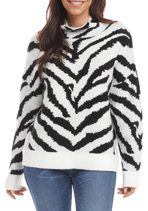 Womens Zebra Mock Neck Pullover Sweater