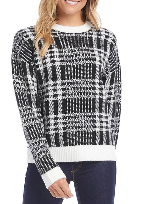 Karen Kane Womens Plaid Pullover Sweater