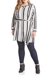 Plus Size Stripe Tunic Shirt