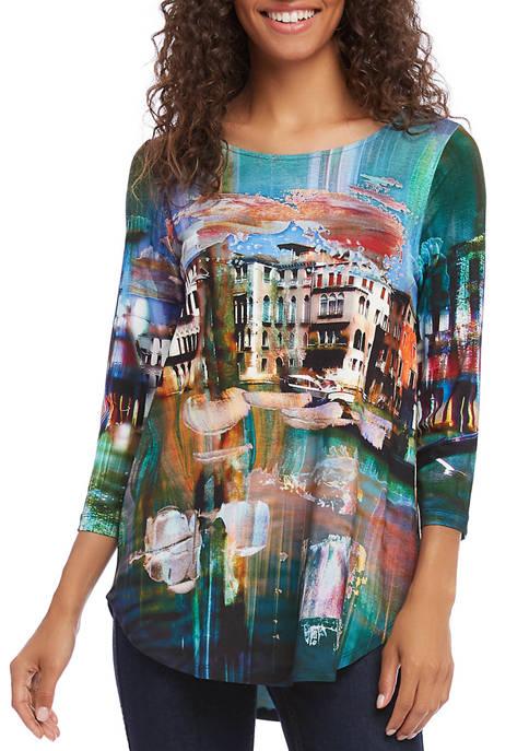 Womens 3/4 Sleeve Shirttail Top