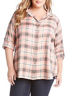 Karen Kane Plus Size Roll-Tab Shirt
