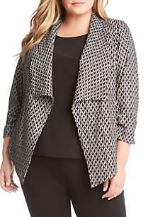 Plus Size Shirred Sleeve Jacket