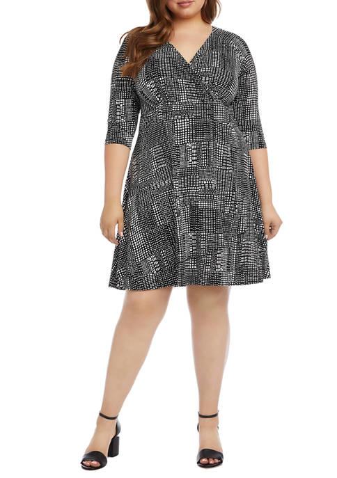 Karen Kane Plus Size Faux Wrap Drape Dress