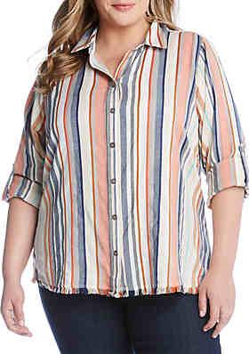 ab5a514a5afcd Karen Kane Plus Size Fringe Button Down Shirt ...