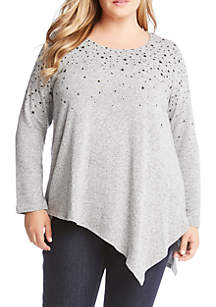 Plus Size Asymmetric Star Print Sweater