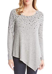 Star Print Asymmetrical Sweater