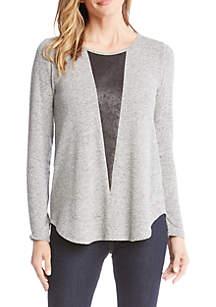 Vegan Leather Inset Sweater