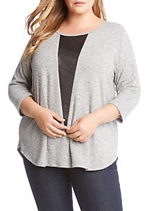 Plus Size Faux Leather Detail Sweater