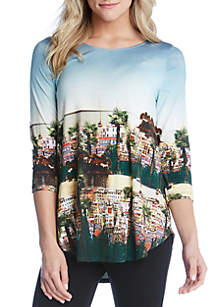 Scenic Printed Knit Top