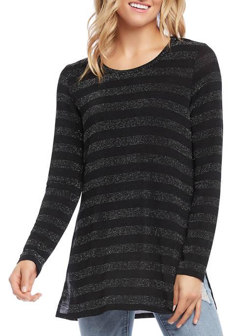 Karen Kane Womens Stripe Sparkle Knit Top