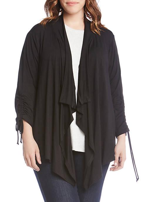 Plus Size Drawstring Sleeve Jacket