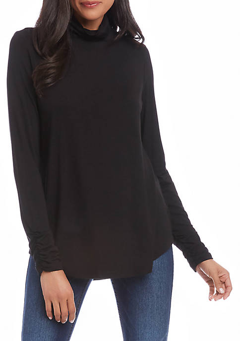 Womens Shirred Sleeve Turtle Neck Top