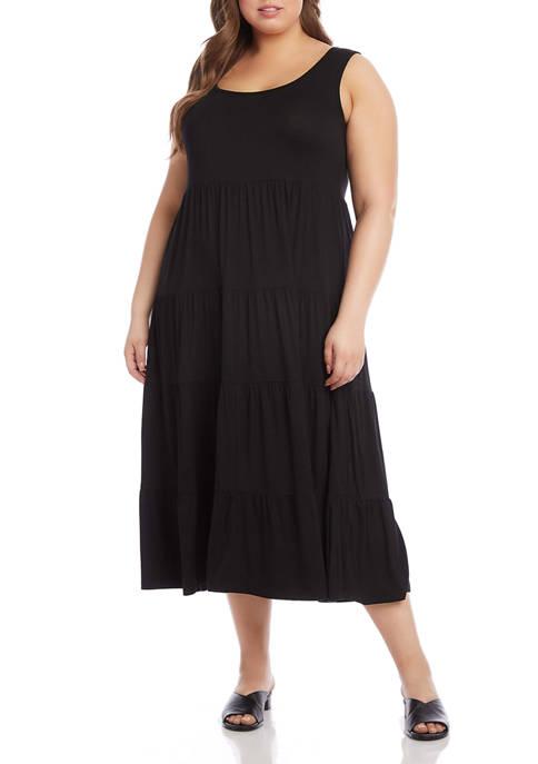Karen Kane Plus Size Sleeveless Tiered Midi Dress