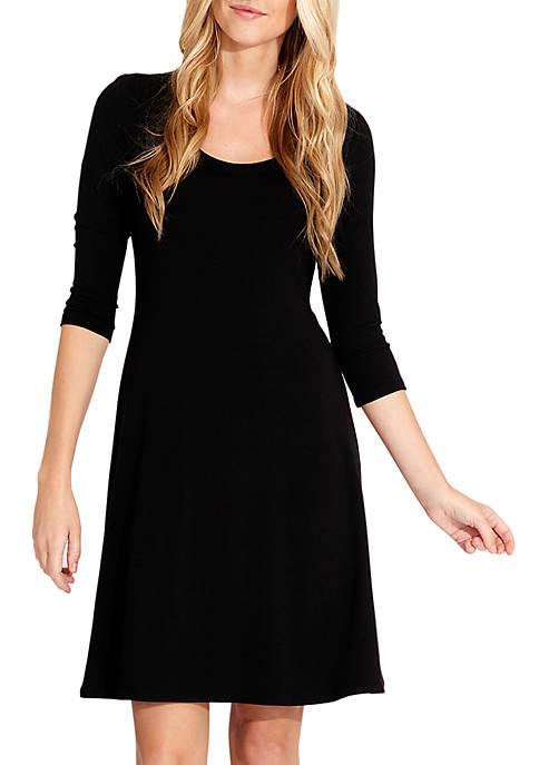 Karen Kane Three-Quarter Sleeve A-Line Dress