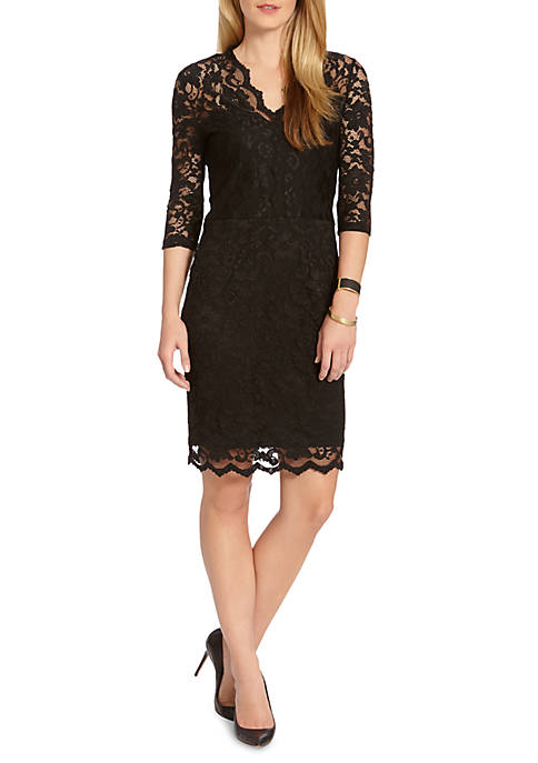 Karen Kane V-neck Scallop Hem Lace Dress