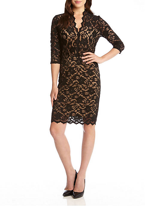 V-neck Scallop Hem Lace Dress