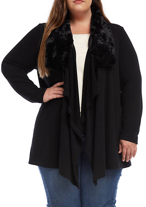 Karen Kane Plus Size Faux Fur Collar Cardigan