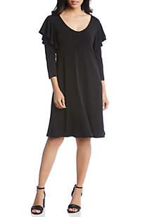 Ruffle Three-Quarter Sleeve Dress