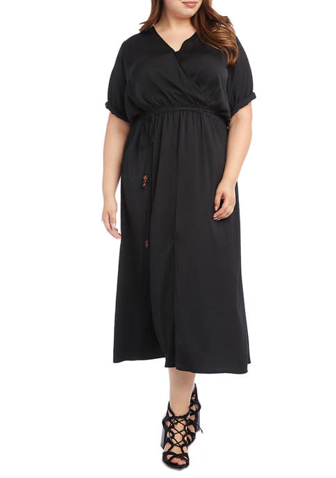 Karen Kane Plus Size Cuffed Sleeve Midi Dress