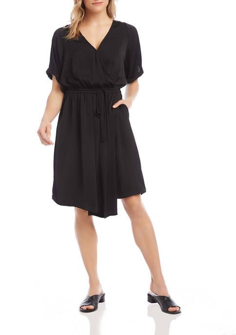 Womens Faux Wrap Dress