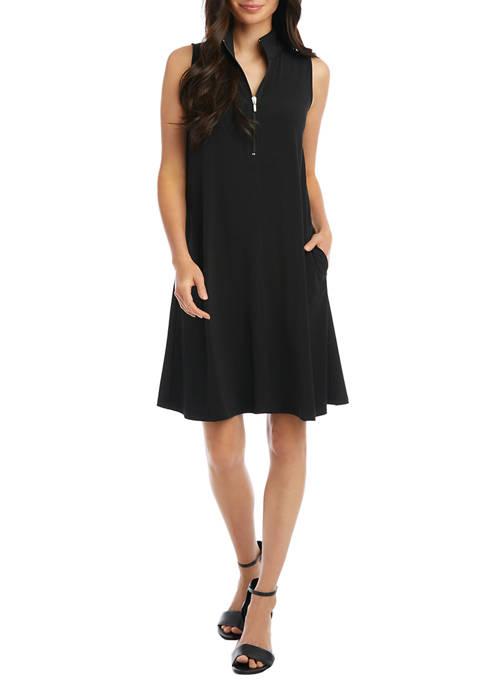 Karen Kane Womens Sleeveless Zip Up Travel Dress