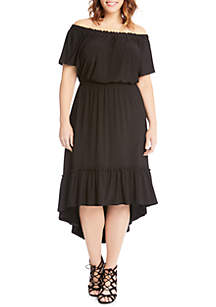 Plus Size Off-The-Shoulder Ruffle Hem Dress