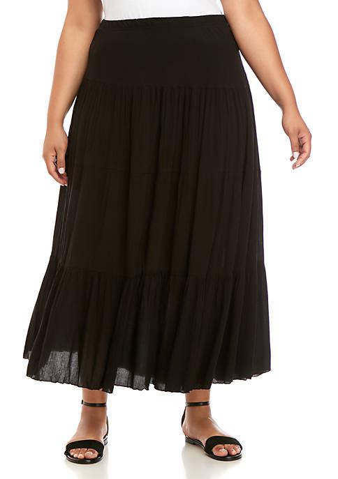 Karen Kane Plus Size Crushed Tiered Maxi Skirt
