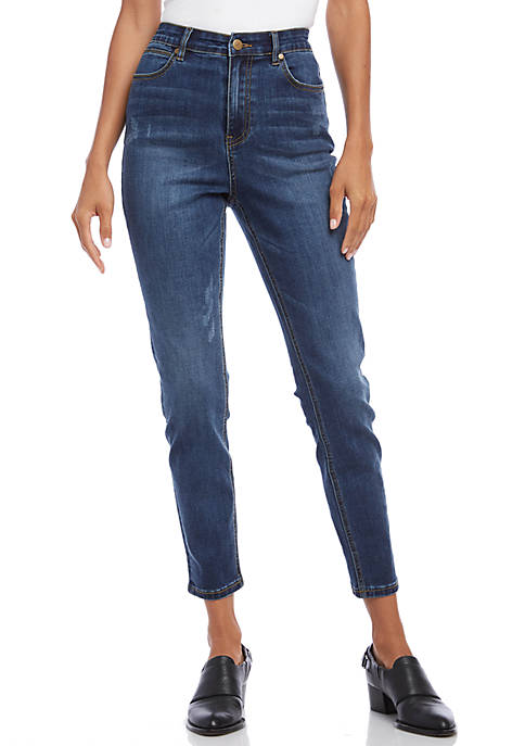 Karen Kane Dark Distressed Skinny Jeans