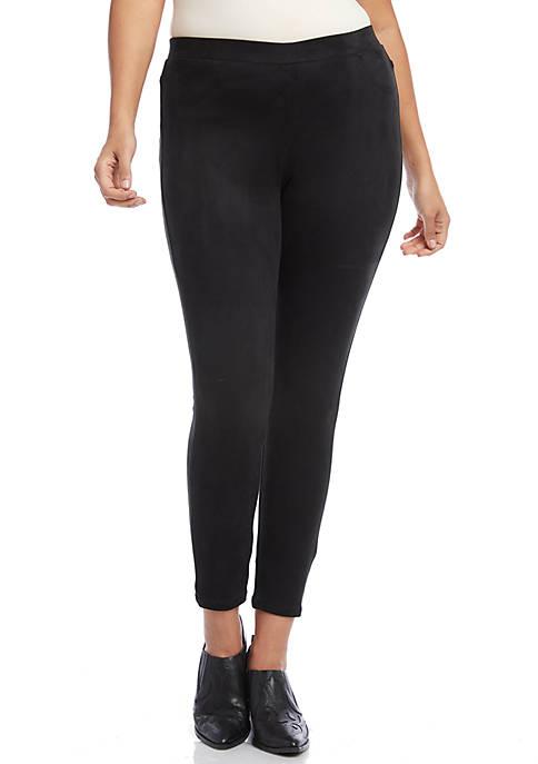 Karen Kane Plus Size Faux Suede Moto Pants
