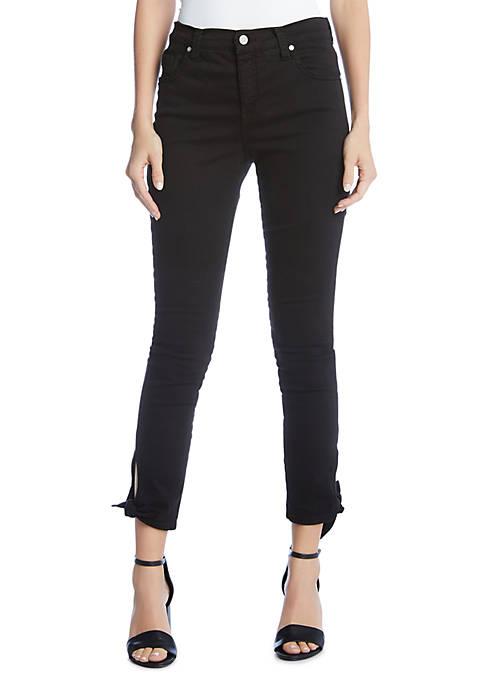 Karen Kane Cropped Tie Hem Skinny Jeans