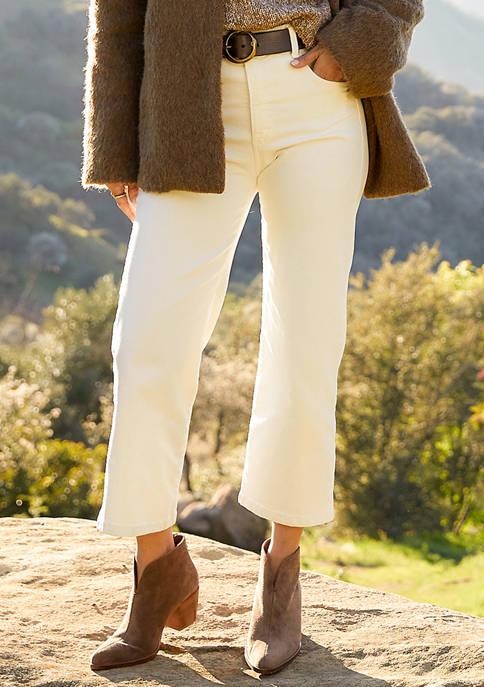 Womens Wide Leg Crop Jeans