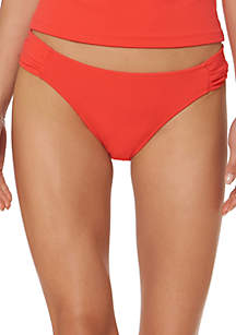 Jessica Simpson Monet Texture Shirred Side Swim Hipster Bottoms