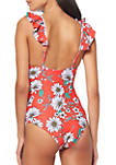 Frill Shoulder 1-Piece Swimsuit with Removable Soft Cups