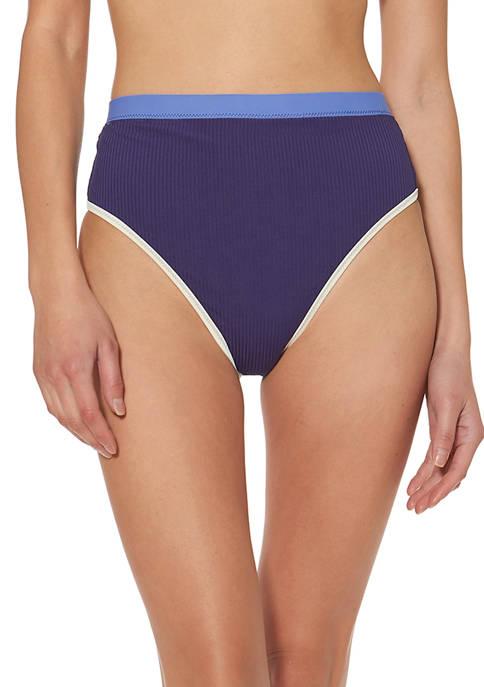 Jessica Simpson Ribbed High Waisted Swim Bottoms