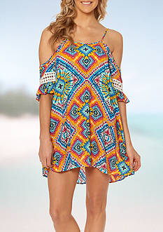 Jessica Simpson Surfside Cold Shoulder Swim Cover Up