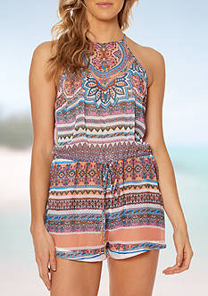 Jessica Simpson Versailles Chiffon High Neck Romper Coverup