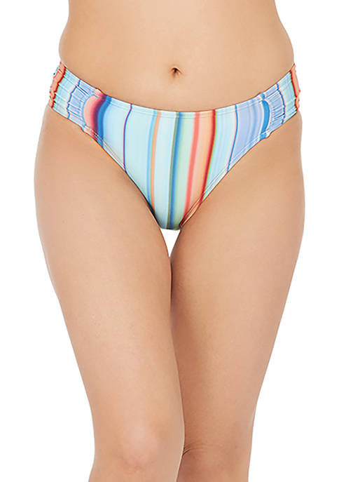 Sunset Stripe Side Shirred Hipster Swim Bottoms