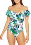 In The Moment Off the Shoulder Ruffle One Piece Swimsuit