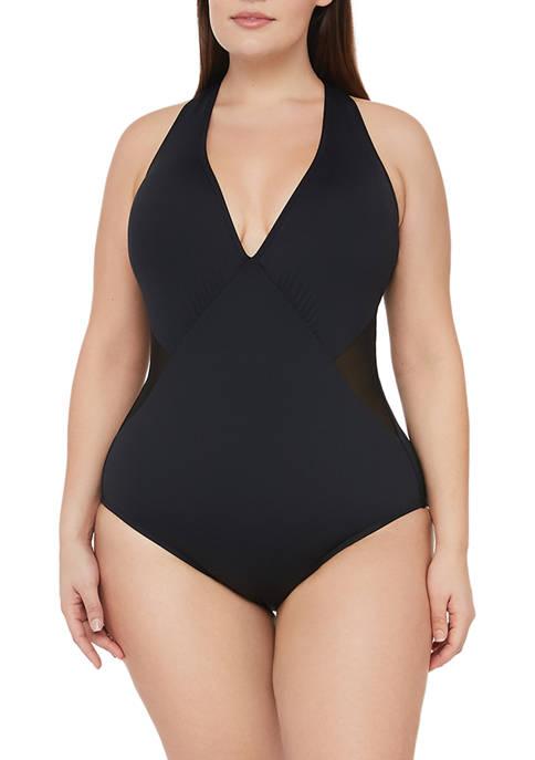 Plus Size Mesh-merizing Strappy Halter One-Piece Swimsuit