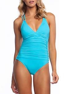 La Blanca Island Goddess Surplice One-Piece Swimsuit