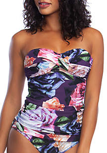 Swim Bloom Field Bandeau Tankini with Molded Cups