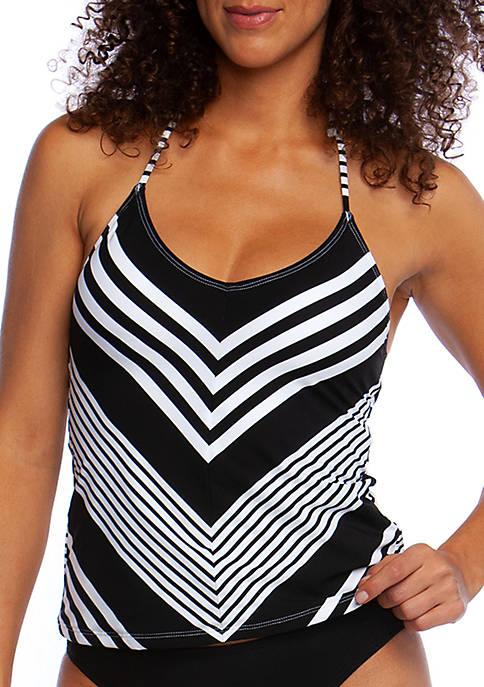 La Blanca Swim Fine Line Mitered Stripe Halter