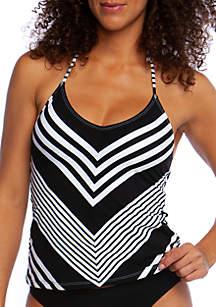La Blanca Swim Fine Line Mitered Stripe Halter Tankini