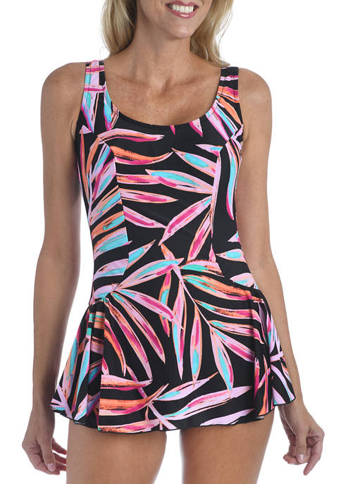 Palm Printed Swim Dress